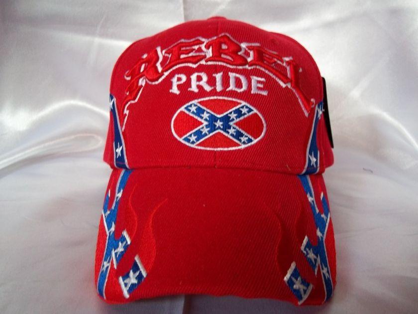 REBEL PRIDE BALL CAP HAT RED WITH REBEL FLAG DESIGNS