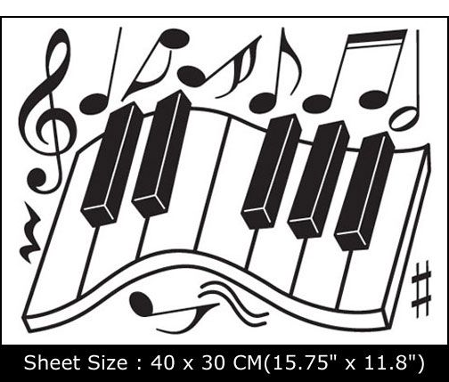 PIANO DECOR VINYL WALL MURAL ART STICKER DECALS EUN 21