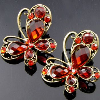 2 antiqued rhinestone crystal butterfly hair clamp clip