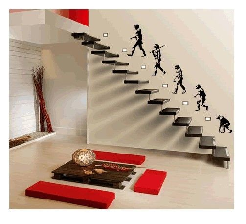 Darwin Evolution of Man Mural Art Wall Stickers Vinyl Decal Home Room