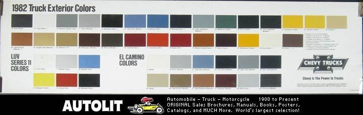 1982 Chevrolet Truck Paint Colors Poster LUV El Camino
