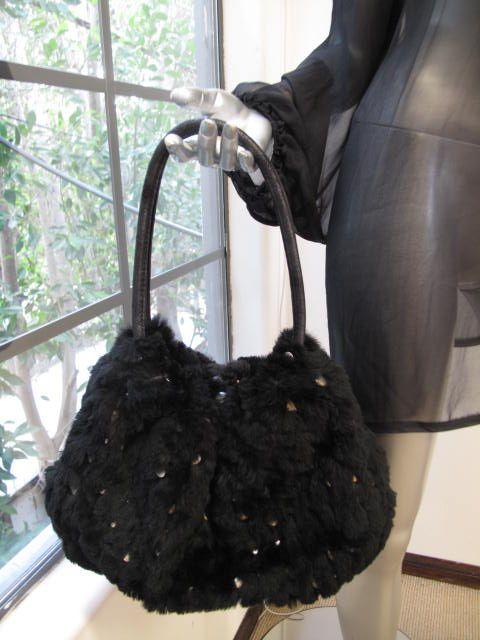Sonia Rykiel Black Fur Silver Studded Leather Strap Bag