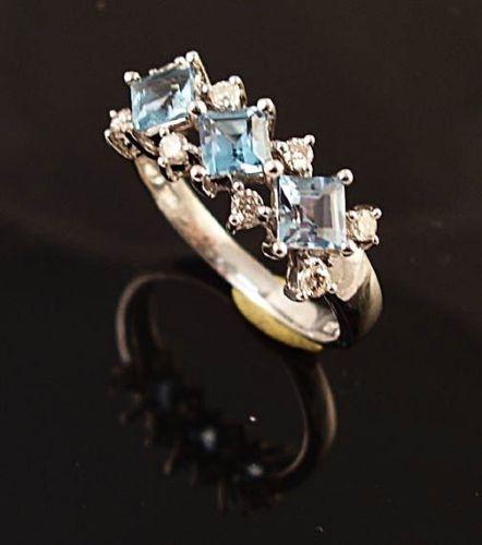 14K WHITE GOLD BLUE TOPAZ & DIAMOND LADIES RING BEAUTY