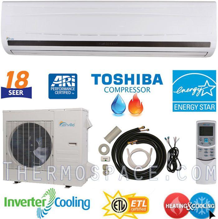 BTU ENERGY STAR Ductless Mini Split Air Conditioner Heat Pump 18 SEER